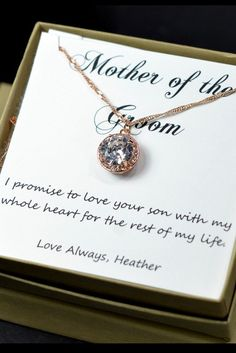 Mother Of The Groom Bride Gift On Law Thank You For Raising Man My Dream Necklace Box Card Cubic