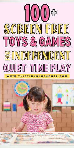 Here are 100  best toys (for younger and older kids) to encourage independent screen free play for kids aged 0-12. Whether you need to get some  work done, cleaning, cooking or you just need a couple of minute to relax and refuel these best screen free toys are the best and easiest way to promote screen free quiet time play. Lego For Kids, Craft Kits For Kids, Puzzles For Kids, Science For Kids, Kids Painting Activities, Indoor Activities For Toddlers, Preschool Activities, Time Activities, Money Saving Mom