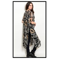 BLACK OPEN SIDES KIMONO -S/M Gorgeous black background open kimono, with Ivory and Taupe strands of jewels and beads in patterns throughout.  Truly looks like this was designed for royalty.  The perfect finishing touch for your favorite outfit. Elbow length sleeves with a raglan shoulder to make a most comfortable fit and elegant look.  Fabric is 100% washable polyester chiffon, and length is 52 inches for all sizes.  What a wonderful gift for the girl who has it all !! No holds or trades…