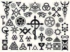 Arte vettoriale : Segni occulti medievale e magiche francobolli