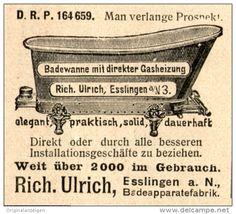 Original-Werbung/ Anzeige 1907 - BADEWANNE MIT DIREKTER GASHEIZUNG / ULRICH ESSLINGEN -ca.45 x 45 mm