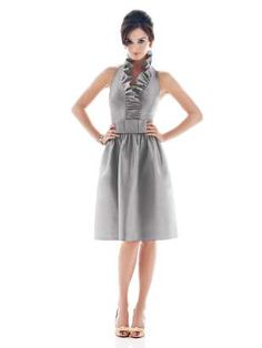 """How cute would this be for a shower or the rehearsal dinner?! (Alfred Sung, """"Quarry"""" gray dress, Dupioni silk)"""