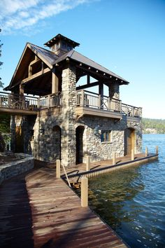 Lake Burton stone  timber Boathouse: PRITCHETT+DIXON