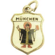 Vintage Enamel Munich, Germany Travel Shield Charm..