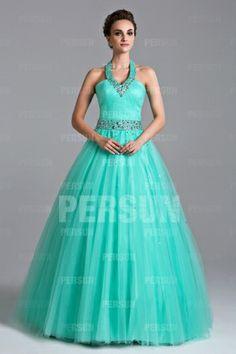 Mint Halter Beaded Ball gown
