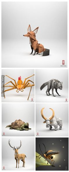 "These animals look beautiful! They are made by Jeremy Kool for ""... an interactive storybook on iOS devices. All the 3D animals and environments featured on the site are created 100% digitally in Autodesk Maya."" http://thepaperfox.blogspot.de/"