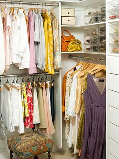 I've pinned some beautiful closets, but this one is more realistic... in size and budget! Very simple, very organized with basic white closet organizers and a fun little stool to add character.