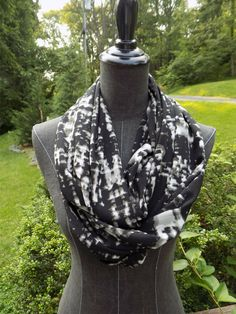 Black Marbled Infinity Scarf - pinned by pin4etsy.com