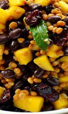 Mango  black bean lentil salad