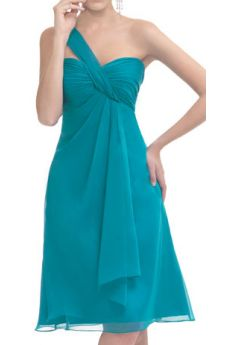 Tempting Sky Blue One Strap Tea Length Chiffon Bridesmaid Dress