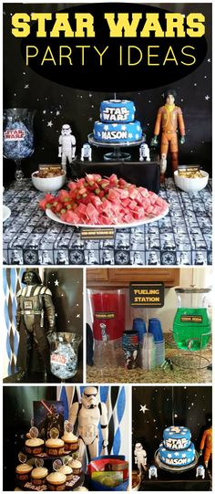 The Force is certainly with this amazing Star Wars party! Star Wars Party, Star Wars Cake, Theme Star Wars, 5th Birthday Party Ideas, Star Wars Birthday, Boy Birthday Parties, 8th Birthday, Star Wars Food, Star Wars Kids