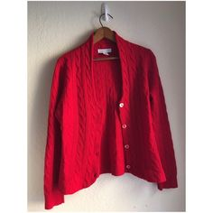 Red Cashmere Cardigan Vintage red cashmere cardigan. Super soft! It's a size large, but the fit is shorter and smaller. Sweaters Cardigans