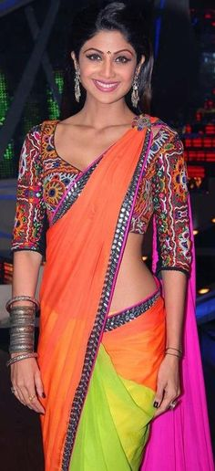 Shilpa Shetty in Multicolour Chiffon Saree with Kutch Work Blouse