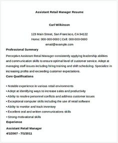 Sales Assistant Manager Resume   General Manager Resume  Find