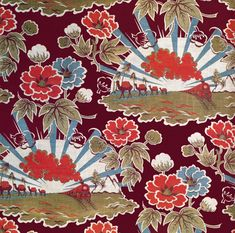 "Russian Textiles - 'part of a series of fabrics in which Russian designers tried to depict ways in which the Soviets had ""improved"" the lives of the Central Asian people.'"