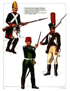 RUSSIA - 1) Fuciliere, Reggimento Granatieri di Klevsky, 1797-1801  - 2) Nestoevol Serzhant, Reggimento di Fanteria 1897 -  Guerre napoleoniche - 3) Granatieri di San Pietroburgo, uniforme invernale, 1808