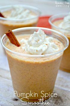 Pumpkin Spice Smoothie: 1/2 banana, 1/3 cup pumpkin puree, 1/3 cup plain Greek yogurt , 3/4 cup vanilla almond milk (or vanilla soy milk), few shakes of pumpkin pie spice, 4-5 ice cubes. So easy & delicious!