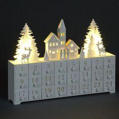 White Christmas LED Lit Advent Calendar with Church and Reindeer Scene