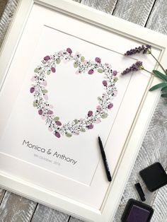 Wedding wreath - heart shape. Wedding alternative guest book. A beautiful heart wreath using plum and lavender shades ink colours. Perfect guest book for rustic, winery or vintage style weddings. Perfect guest book idea if you are having a floral wedding wreath .