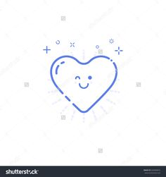 Vector Illustration Of Icon Shopping Concept Likes In Line Style. Linear Blue Heart With Geometric Symbols. Design For Internet, Banner, Web Page And Mobile App. Outline Object E-Commerce. - 504909874 : Shutterstock