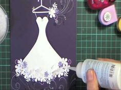 Gorgeous and clever! Great tutorial with card making ideas! scallop wedding dress (with wing scraps) Card Making Tutorials, Card Making Techniques, Wedding Anniversary Cards, Wedding Cards, Cute Cards, Diy Cards, Dress Card, Creative Cards, Scrapbook Cards