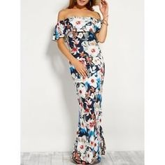 14.73$  Buy here - http://viwam.justgood.pw/vig/item.php?t=mxdguad5271 - Floral Print Flounce Off The Shoulder Maxi Dress