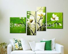 Hand Painted Green White Orchid Oil Painting Sets Modern Abstract 4 Piece Canvas Art Flower Picture Wall Decor For Sale