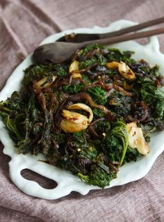 Recipe: Slow-Cooked Kale with Smashed Garlic & Red Onions Recipes from The Kitchn | The Kitchn....skip the oil and salt.