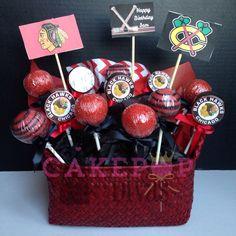 Chicago Blackhawks cake pop arrangement. Order at www.facebook.com/thecakepopdivas or thecakepopdivas@gmail.com