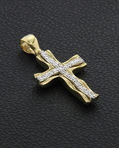 Βαπτιστικός Σταυρός χρυσός & λευκόχρυσος Κ14 με Ζιργκόν δύο όψεων