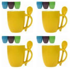 Kaffeebecher mit Henkel in Violett, Hellblau & Hellgrün und Löffel 300 ml 12 Stück Set