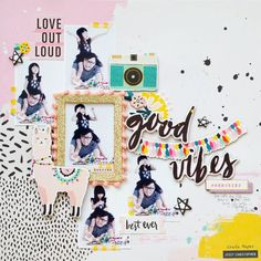 I'm always so excited to be here to share with you another layout that I have created with the spankin' new collection called Good Vibes. Scrapbook Sketches, Scrapbook Page Layouts, Scrapbook Pages, Scrapbooking Ideas, Digital Scrapbooking, Paper Bag Album, Journal Paper, Smash Book Pages, Bagdad
