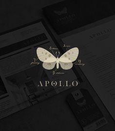 Apollo / logo design / branding / identity / butterfly / moth / clothing label / modern twist / by Tiffany Hsu