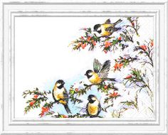 Paper Napkins Set of 4 SOPHY'S BIRDS Cocktail Napkin, Decoupage, Floral Printed Craft Tissue, Serviette, Scrapbooking,