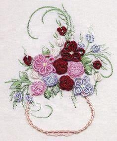 Bullion Flowers Embroidery in Vase