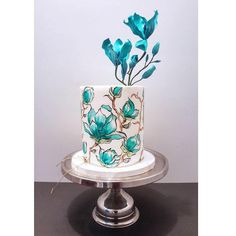 Image may contain: plant Gorgeous Cakes, Pretty Cakes, Amazing Cakes, Grandma Birthday Cakes, Turquoise Cake, Turquoise Stone, Buttercream Birthday Cake, Hand Painted Cakes, Glass Cakes