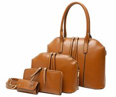 Whoishe® Women's Leatherette Brown Occident Style 4 Pieces in a Lots Shoulder Handbags with Clutch. Leatherette. Handbag Size: 12.99in W X 9.84in H X 4.33in D. Handbag Handle Drop : 5.91in. Occident style. Shell Shape, Simple Design.