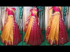 South Indian Wedding Saree, South Indian Sarees, Saree Wedding, Lehenga Style Saree, Silk Sarees, Reception Sarees, Saree Wearing Styles, Indian Designer Outfits, Half Saree