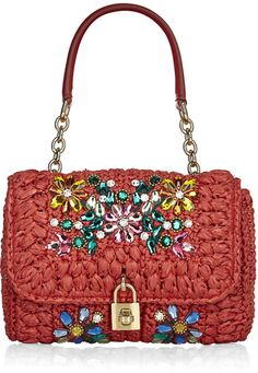 Dolce & Gabbana Small Miss Dolce Mediterranean Crystal Bag in Red (gold)