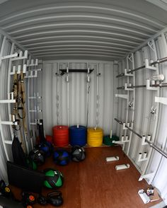 Shipping Container Homes, Shipping Containers, Gym Plans, Backyard Gym, Gym Center, Land Mine, Outside Storage, Home Gym Design, Outdoor Gym