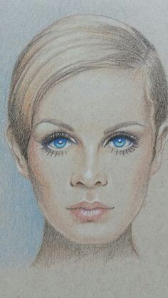 Colored pencil on brown tone paper