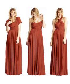 Bridesmaid Dress Colors, Bridesmaids, Burnt Orange Dress, Convertible Dress, Infinity Dress, Prom Dresses, Wedding Dresses, My Girl, Wrap Dress