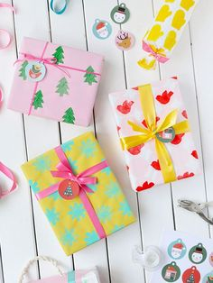 Potato Stamped Wrapping Paper: Three Ways