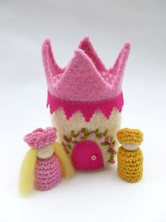 Felted wool castle with Prince and Princess wood by greenmountain, $24.00: