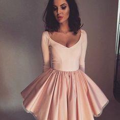 0e7e3ecc516 Stylish A-Line V-Neck Long Sleeves Pink Short Homecoming Dress