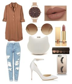 """""""Neutrals"""" by kirsten-wilde-1 on Polyvore featuring United by Blue, Topshop, Jimmy Choo, Victoria Beckham, Olivia Burton, Yves Saint Laurent and Casetify"""