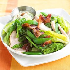 Turkey Bacon Salad When cooked in the microwave, bacon crisps up quickly. A little bit adds a big boost of flavor to a romaine and turkey salad that works as a main-dish dinner.
