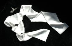 A classic white silk aviator scarf. A true luxury. Bomber jacket scarf or formal wear opera scarf.  This is double layer 100% silk charmeuse scarf (the