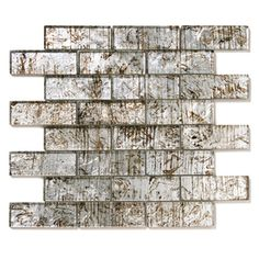 Solistone 10-Pack Folia Silver Maple Glass Mosaic Subway Indoor/Outdoor Wall Tile (Common: 12-in x 12-in; Actual: 12-in x 12-in)