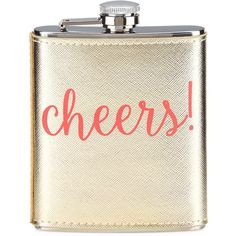 Neiman Marcus Cheers Faux-Leather Boxed Flask (330 ZAR) ❤ liked on Polyvore featuring home, kitchen & dining, bar tools and gold